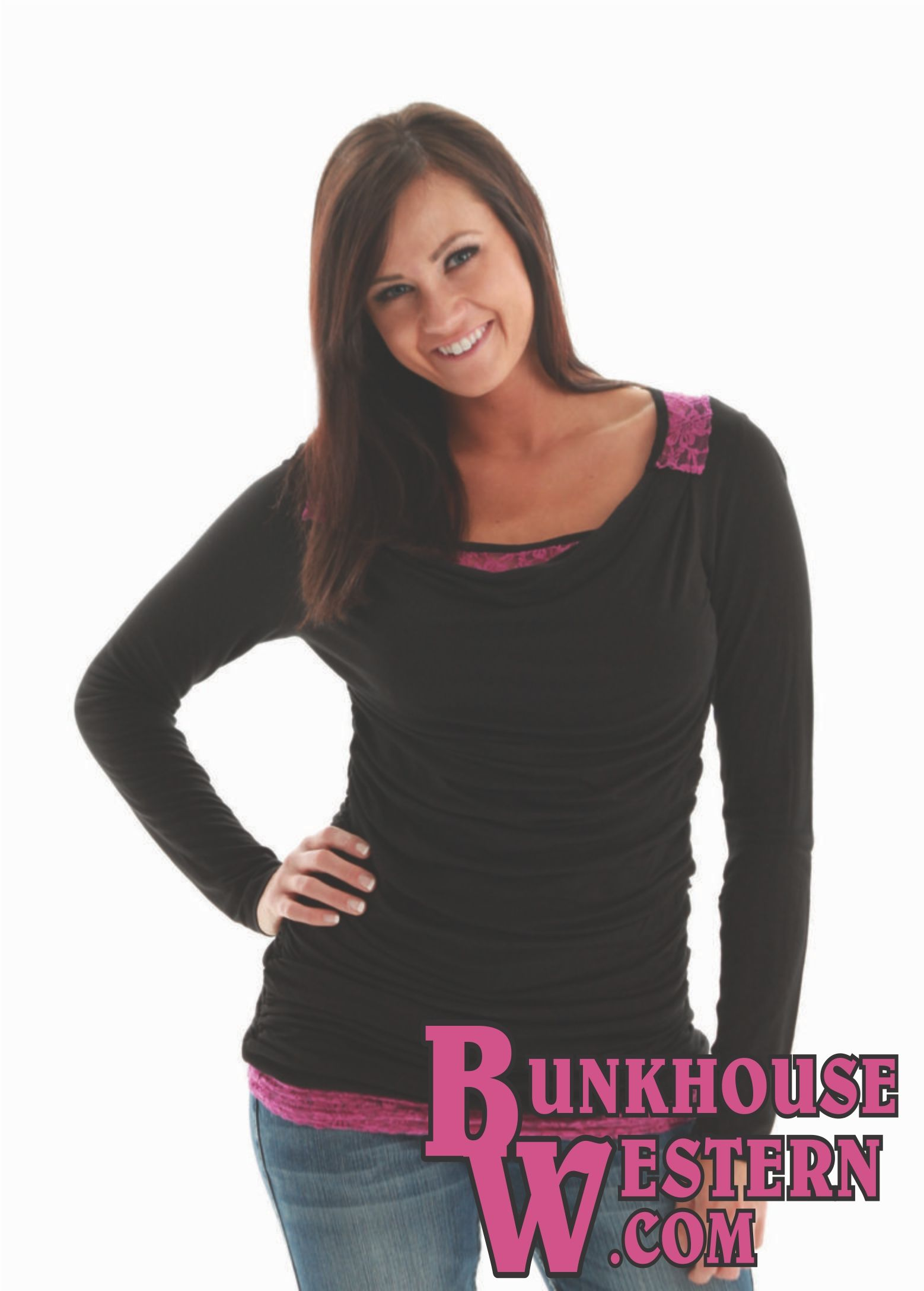 72be44f526e3fc 70% OFF Fuschia Lace Layering Cowgirl Tuff Tee (Small only)