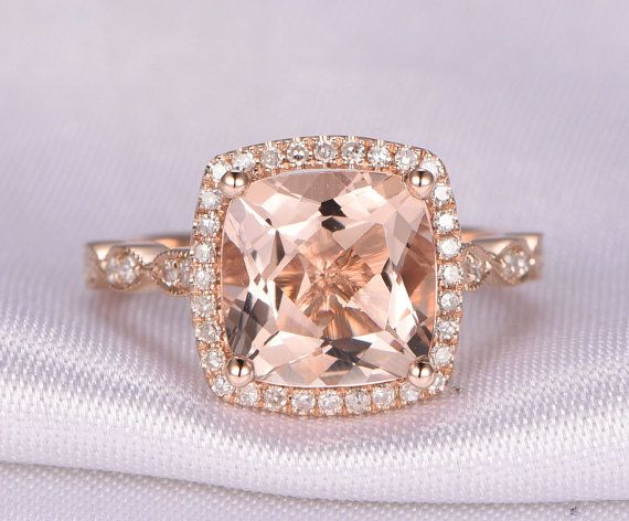 Gemstone can be replaced with other birthstone. Material: Solid 14k Gold( White/Rose/Yellow gold available,14 &18k available) Bottom Band Width: approx 2.2mm Main stone: 8x8mm Cushion Cut Natural Pink Morganite, VS Clarity Accent Stones: 0.32ct Round Cut Natural Conflict Free Diamonds,SI