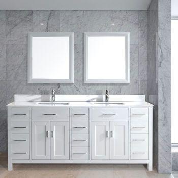 Bathroom Mirrors Costco studio bathe kalize 75 white double vanity with mirrors, costco