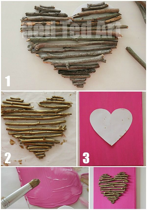 valentines decorations twig heart canvas - Homemade Valentine Decorations