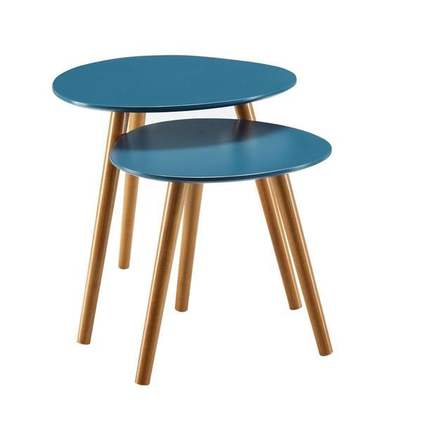 Best Set Of 2 Mid Century Modern Nesting End Tables In Blue 400 x 300