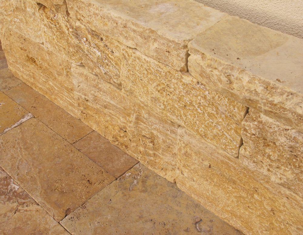 Travertin Gold Mauersteine Trockenmauer Steinmauer Natursteinmauer ...