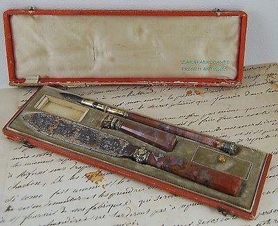 Antique 19th c  French Silver Vermeil & Agate Damascene Set   Pen, Seal & Letter Opener