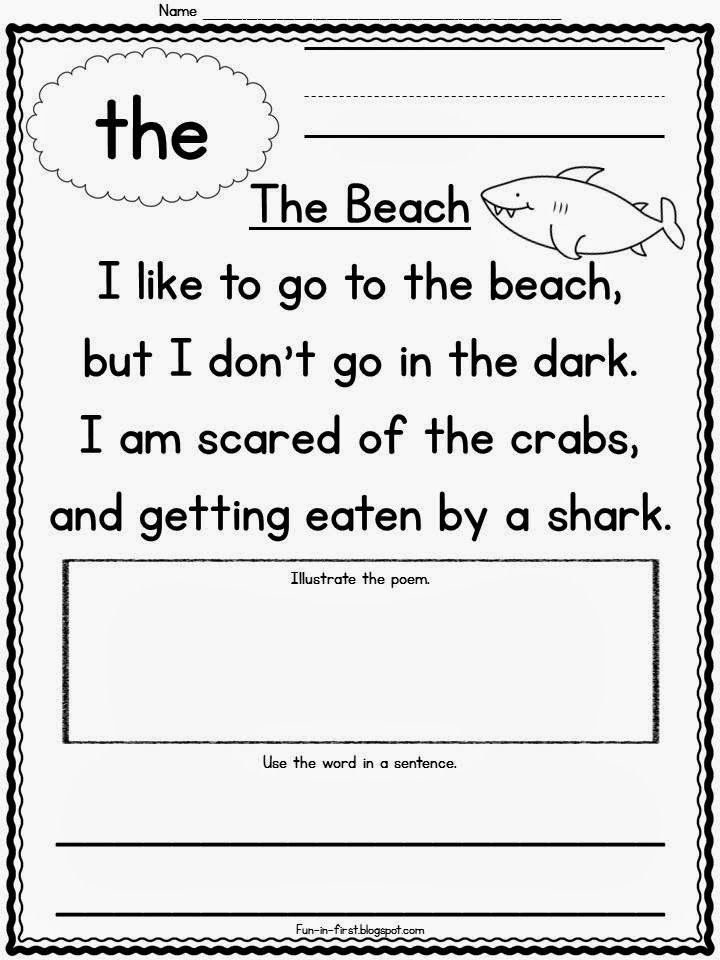 Sight Word Poems | Learning to Read (K-2) | Pinterest | Kinder ...