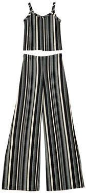 The Catte Stripe Crepe Crop Top w/ Matching Wide Leg Pants Size S-XL #sallymiller