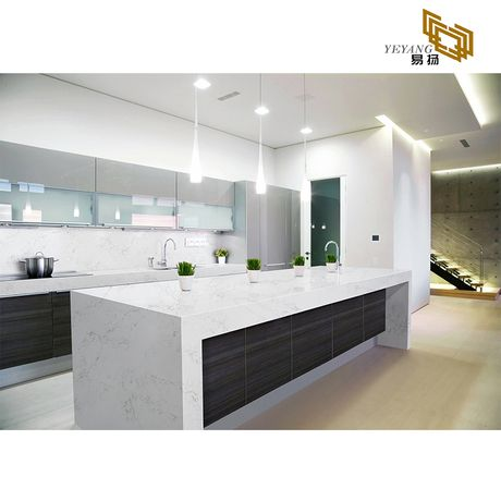 Solid surface kitchen countertop white quartz slabs wall ...