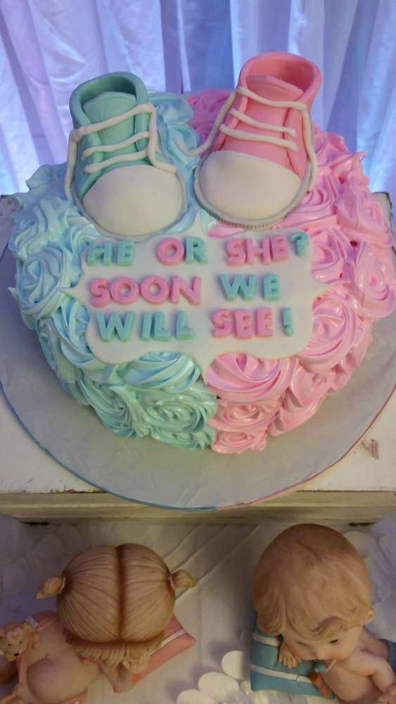 Gender Reveal Baby Shower Party Cake See More Party Ideas At