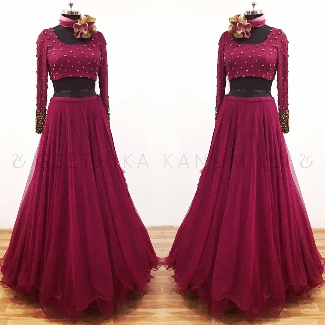 Beautiful Wine Color Layered Lehenga And Designer Blouse With Full Sleeves Designer Blouse With Hand Embroi Half Saree Lehenga Indian Designer Outfits Dresses