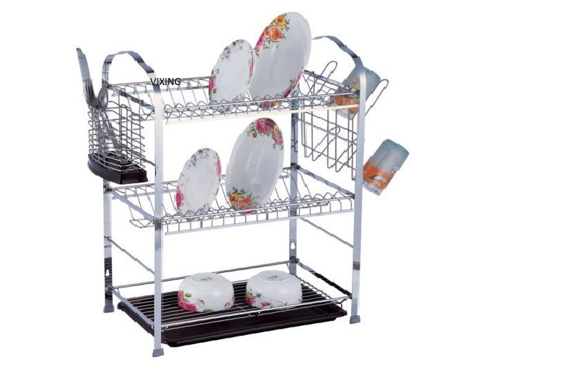 3 Tier Dual Double Stacked Sink Drainer Board Cup Washing Dish Rack Holder Ebay