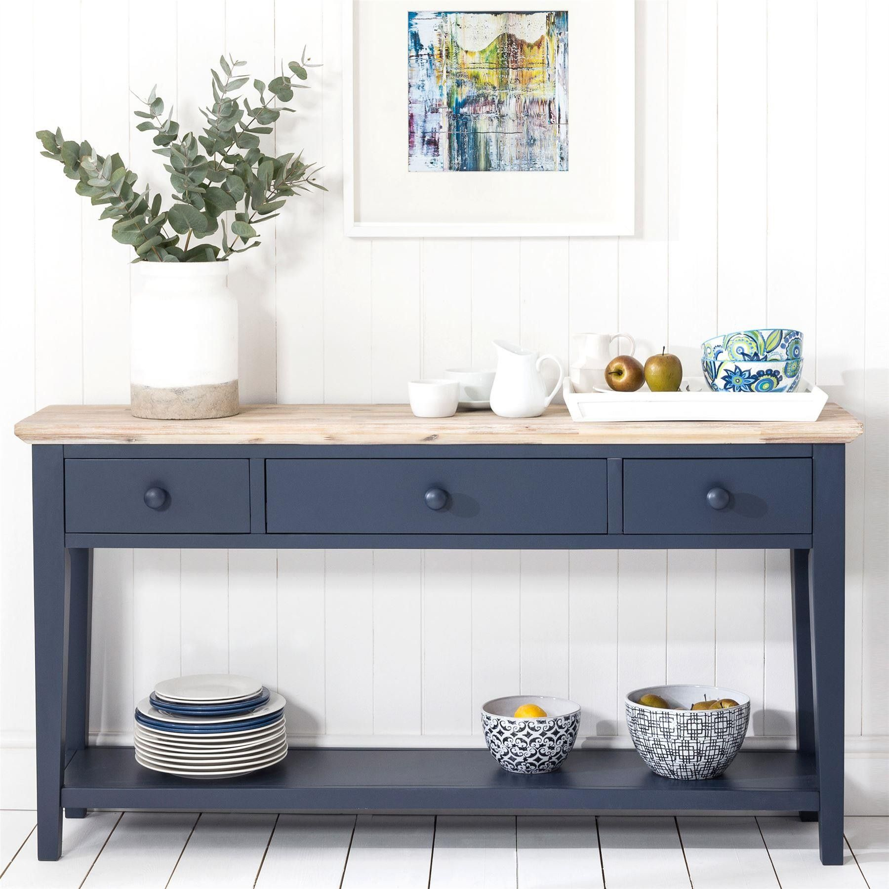 Florence Navy Blue Console Table With 3 Drawers Blue Console