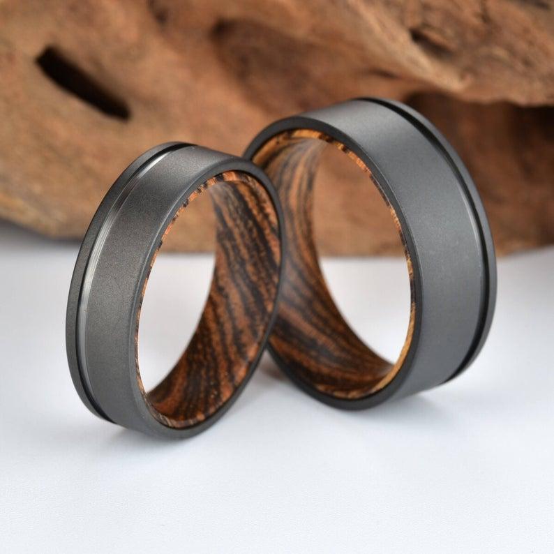 Sandblasted Ring Wood Sleeve Tungsten Ring Men Wedding Band Bocote Wood Sleeve Ring Sandblasted Tungsten Ring For Men