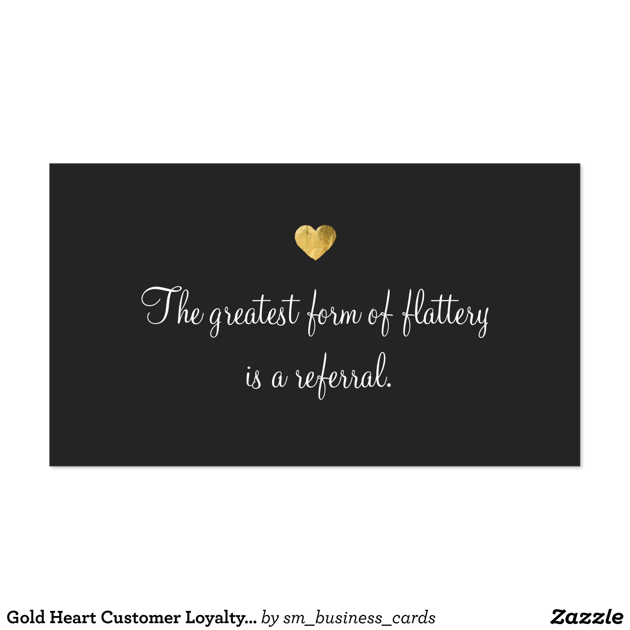 Cute Faux Gold Foil Heart Customer Referral Card Business