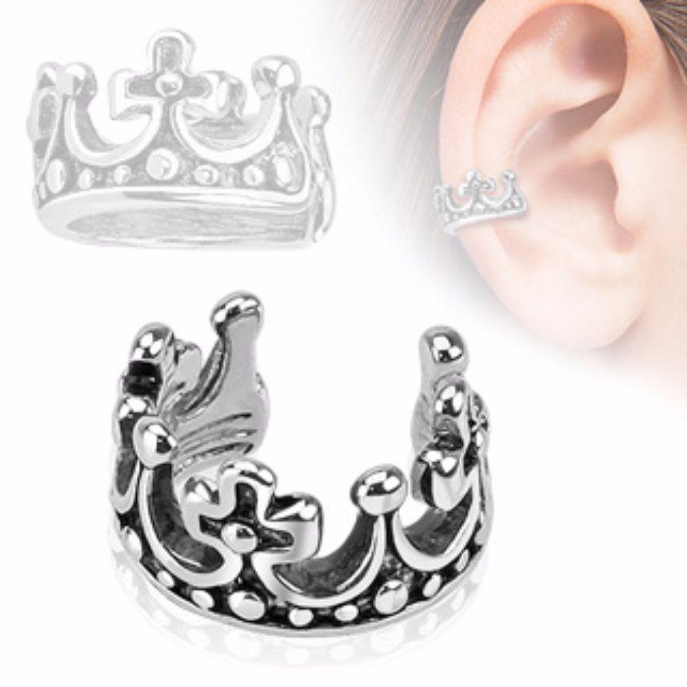 Nose accessories without piercing  Crown Design Rhodium Plated Brass Non Piercing WildKlass Ear Cuff