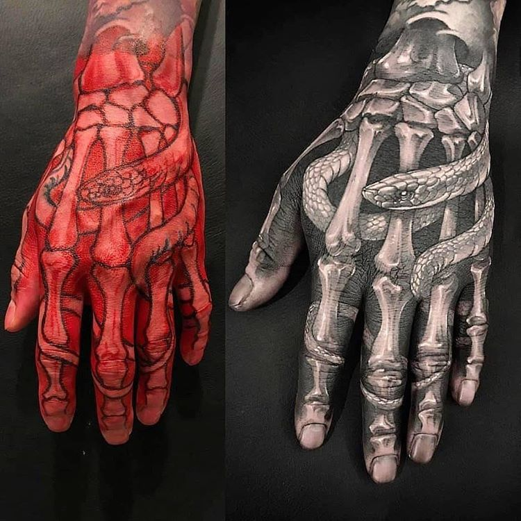 Crazy Hand Tattoo Skeleton Hand Tattoo Hand Tattoos Hand Tattoos For Guys