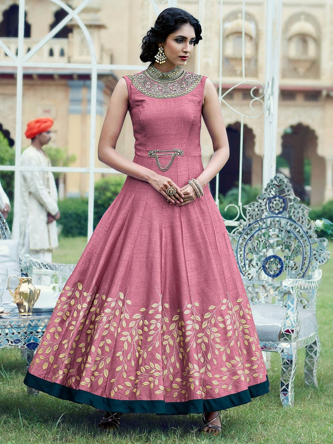 Shop Classic pink raw silk anarkali suit online from G3fashion India ...