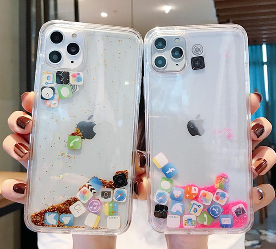 2020 的 App Icon Glitter Dynamic Quicksand Silicone Case