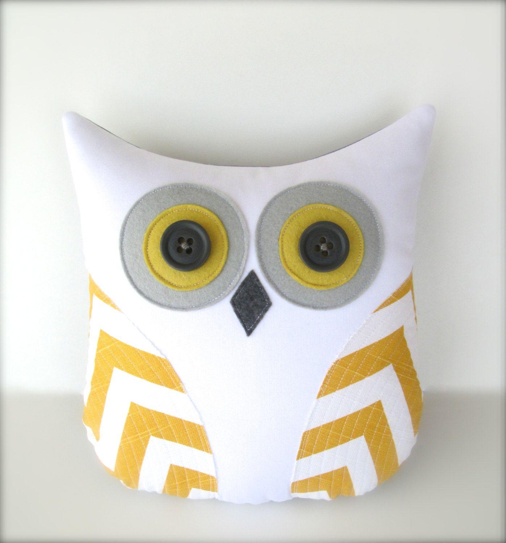 chevron owl pillow decorative yellow and white chevron owl grey