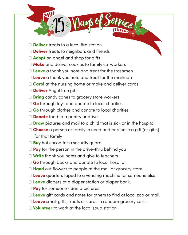 25 Days of Service Christmas service, Christmas carol