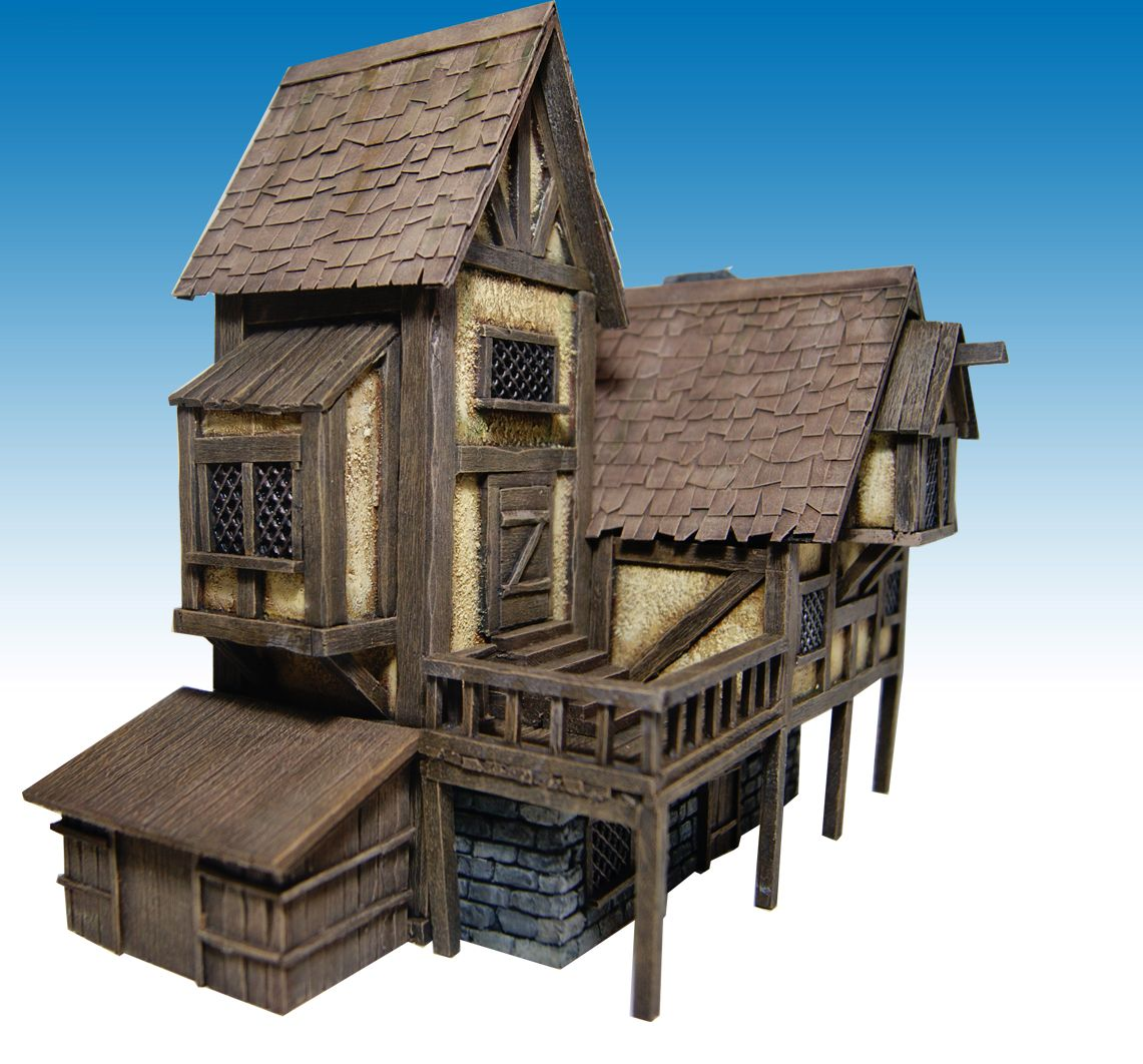 Miniature warfare medieval house nr 2 finished for Mini wooden house