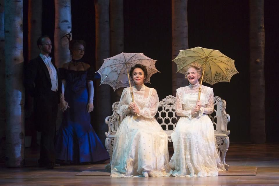 """Morgan Kirner (far left) and Lauren Molina in the Huntington Theatre Company's production of """"A Little Night Music.''"""