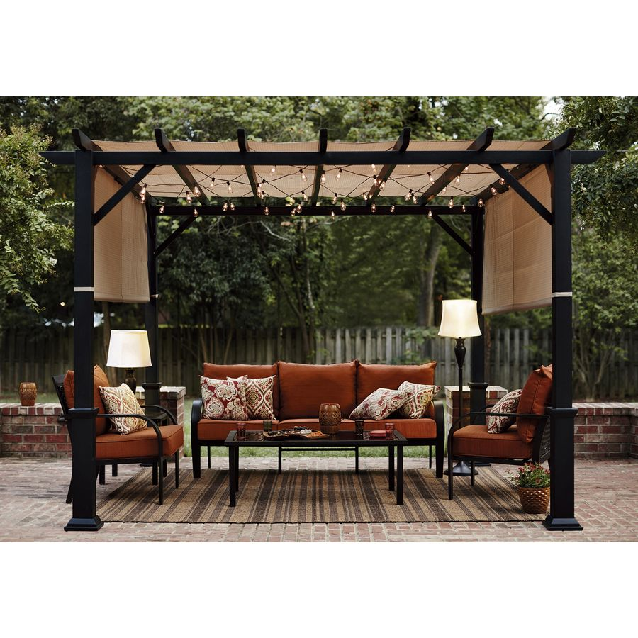 Shop Garden Treasures 134-in W x 134-in L x 92-in H x Matte Black Powder  Steel Freestanding Pergola with Canopy at Lowes.com - Shop Garden Treasures 134-in W X 134-in L X 92-in H X Matte Black