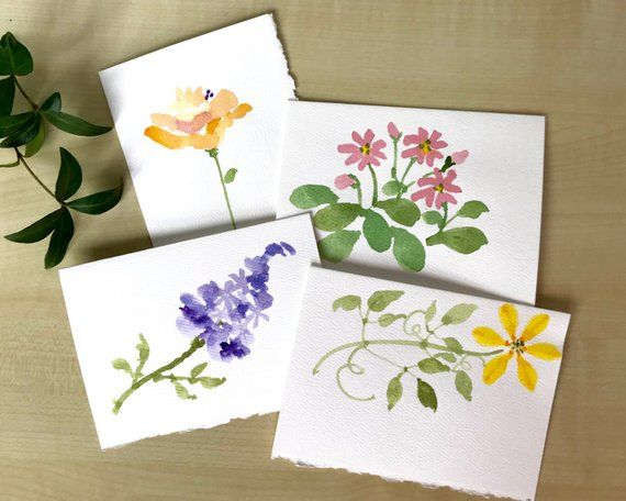 Spring Watercolor Flower Card Set Hand Painted Floral Notecards