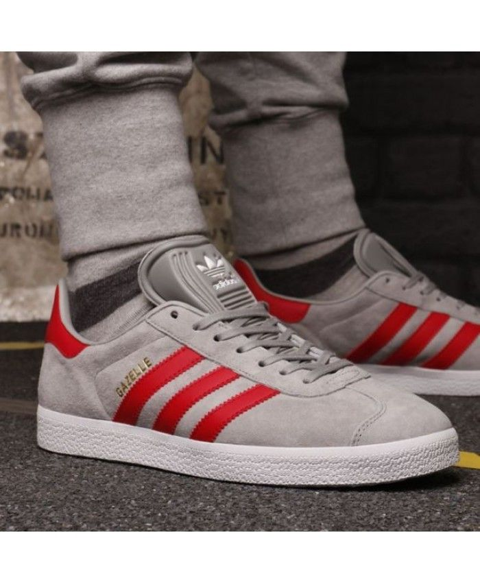 the latest 60b62 39977 Adidas Originals Gazelle Grey Red White Men Shoes