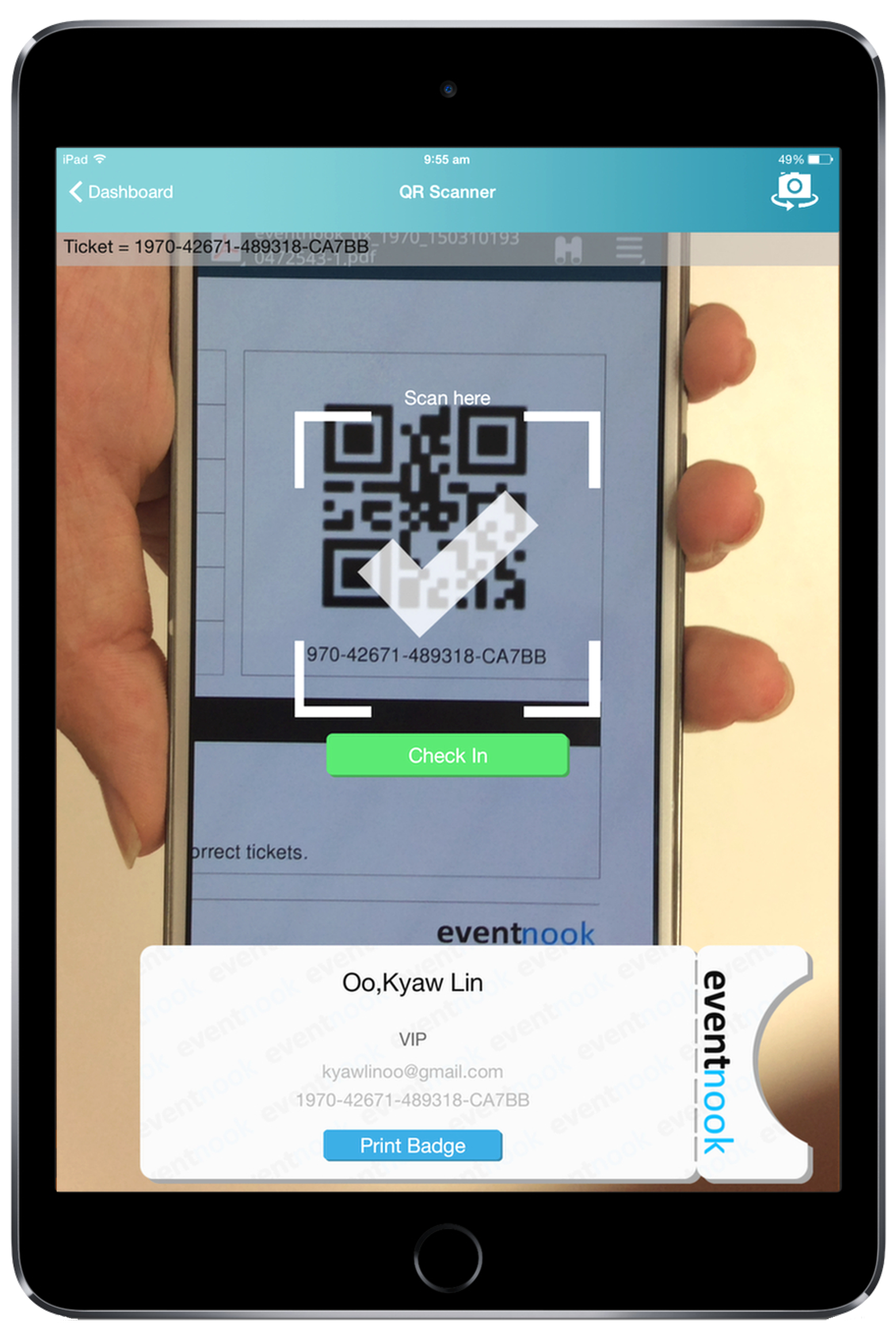 Event Check-in QR Code scan from mobile