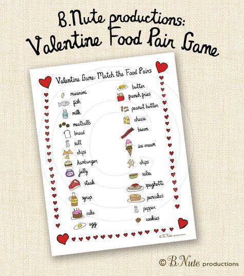 Bnute Productions Printable Valentine Food Pair Game Valentine S