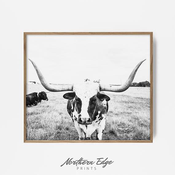 Texas Longhorn Wall Art Longhorn Farmhouse Decor Home Decor Longhorn Painting Cattle Original Art Steer Wall Art