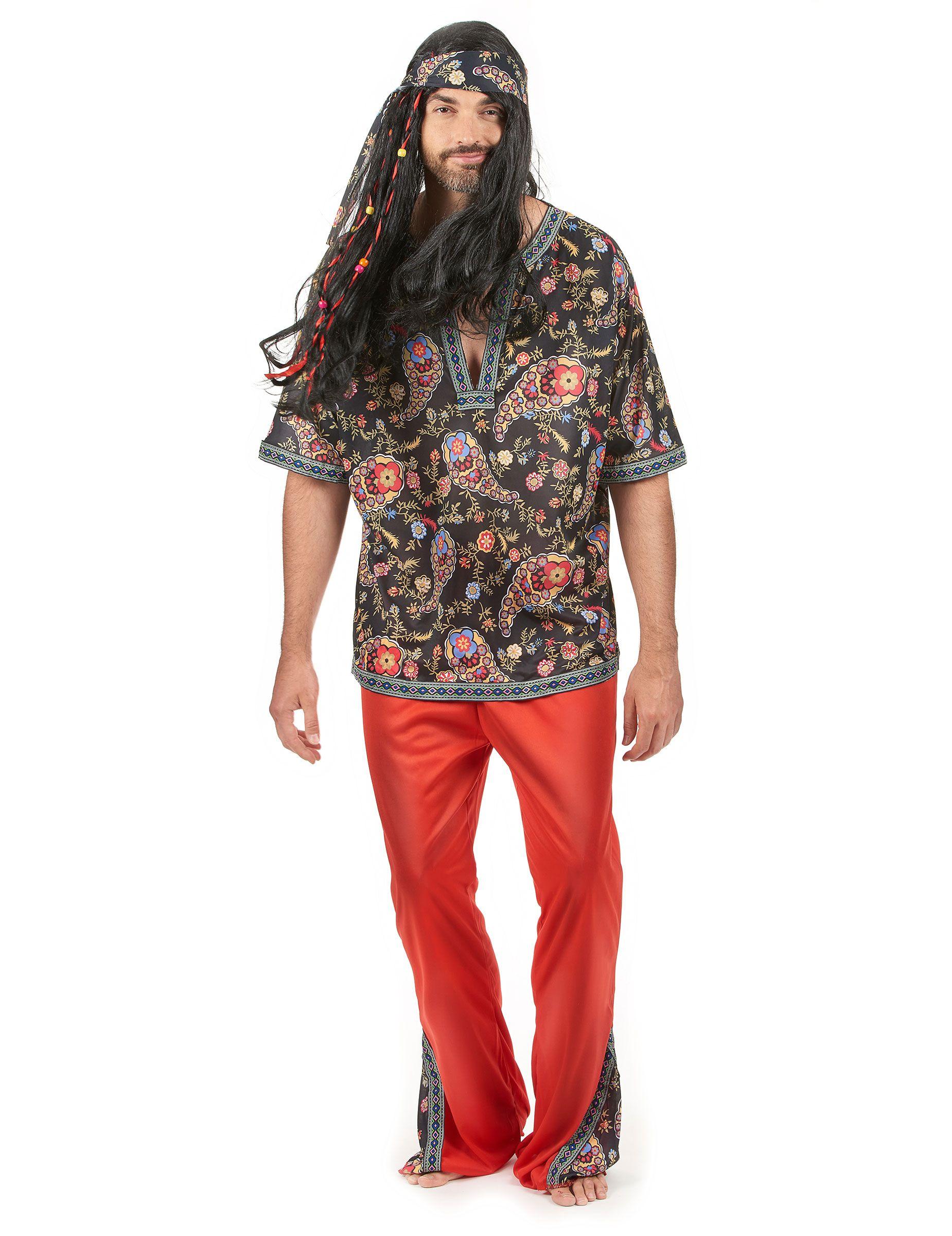 Déguisement hippie homme   Ce déguisement de hippie pour homme est composé  d un tee ed76dc338da6