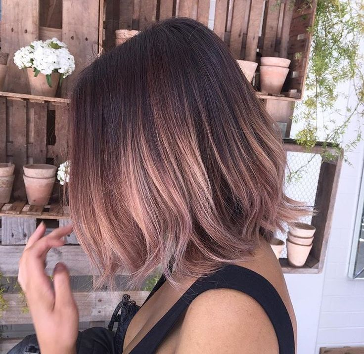 Rose Gold Ombre Bob Short Hair In 2019 Hair Balayage Hair Styles