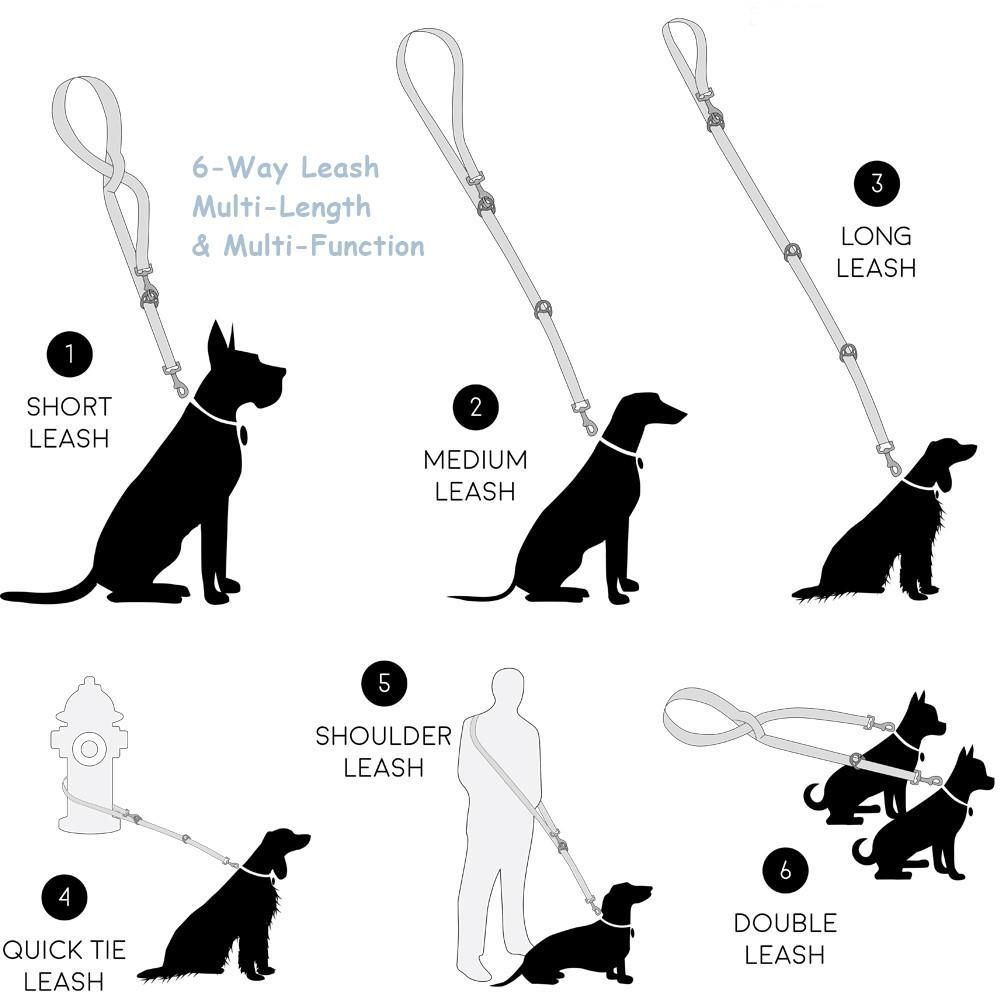 6 Way Multi Function Adjustable Leash With Soft Grip Handle