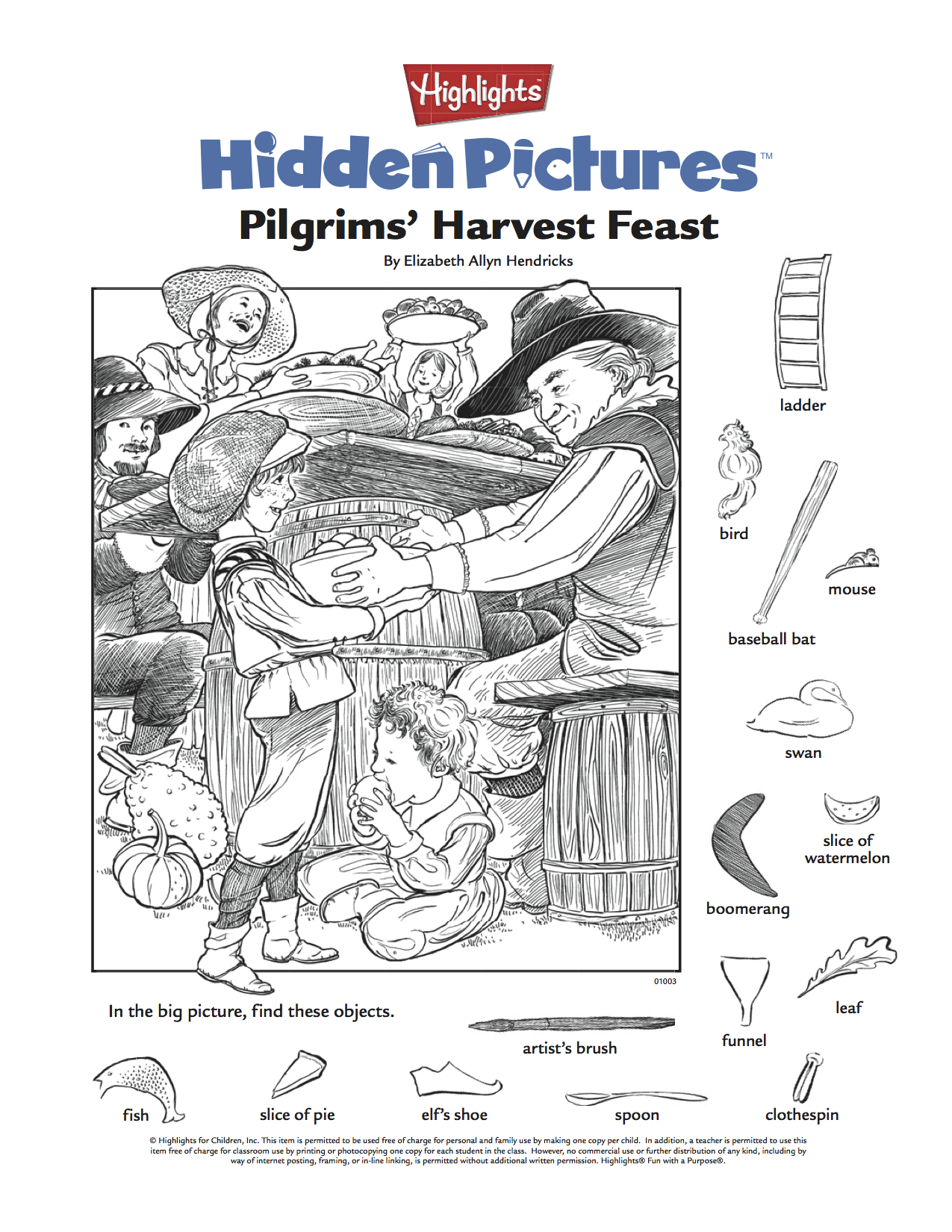 Thanksgiving Hidden Pictures Puzzle Printable For Kids