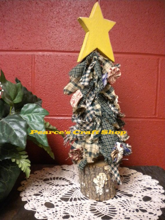 MADE TO ORDER Raggedy Homespun Christmas Tree by PearcesCraftShop, $14.95 | Primitive christmas ...