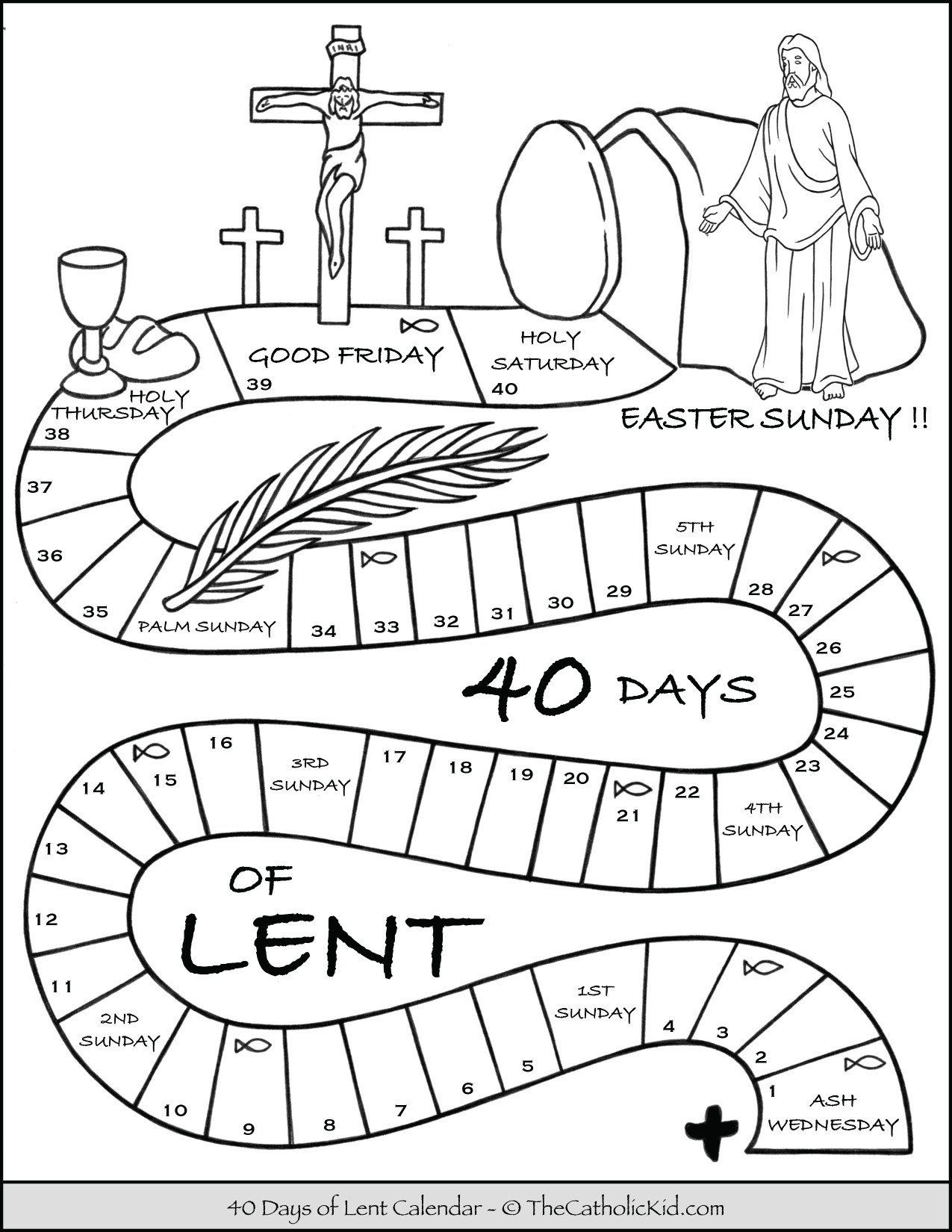 Lent Worksheets For Kids Kids Lent Calendar Coloring Page