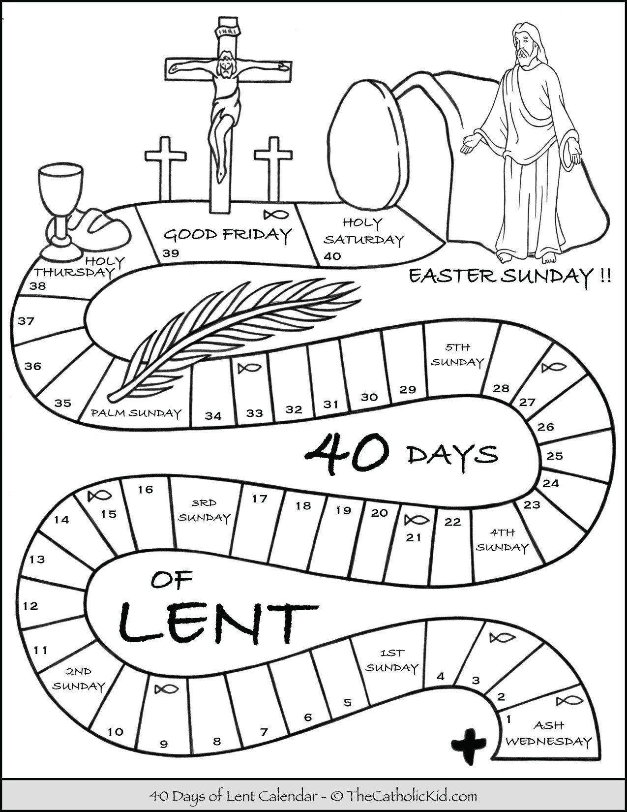 Lent Worksheets For Kids Kids Lent Calendar Coloring Page