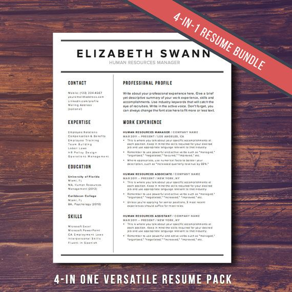 Modern Resume Template Cover Letter For Word Cv Curriculum Vitae