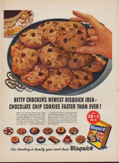1953 Bisquick Vintage Ad Chocolate Chip Cookies