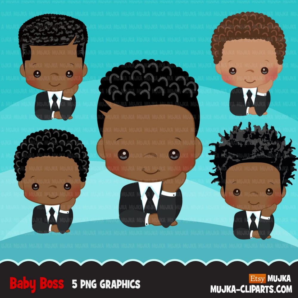 Boss Baby Clipart Toddler With Business Suit Graphics Black Boys Commercial Use Clip Art Boss Baby Cute Black Babies Black Boys