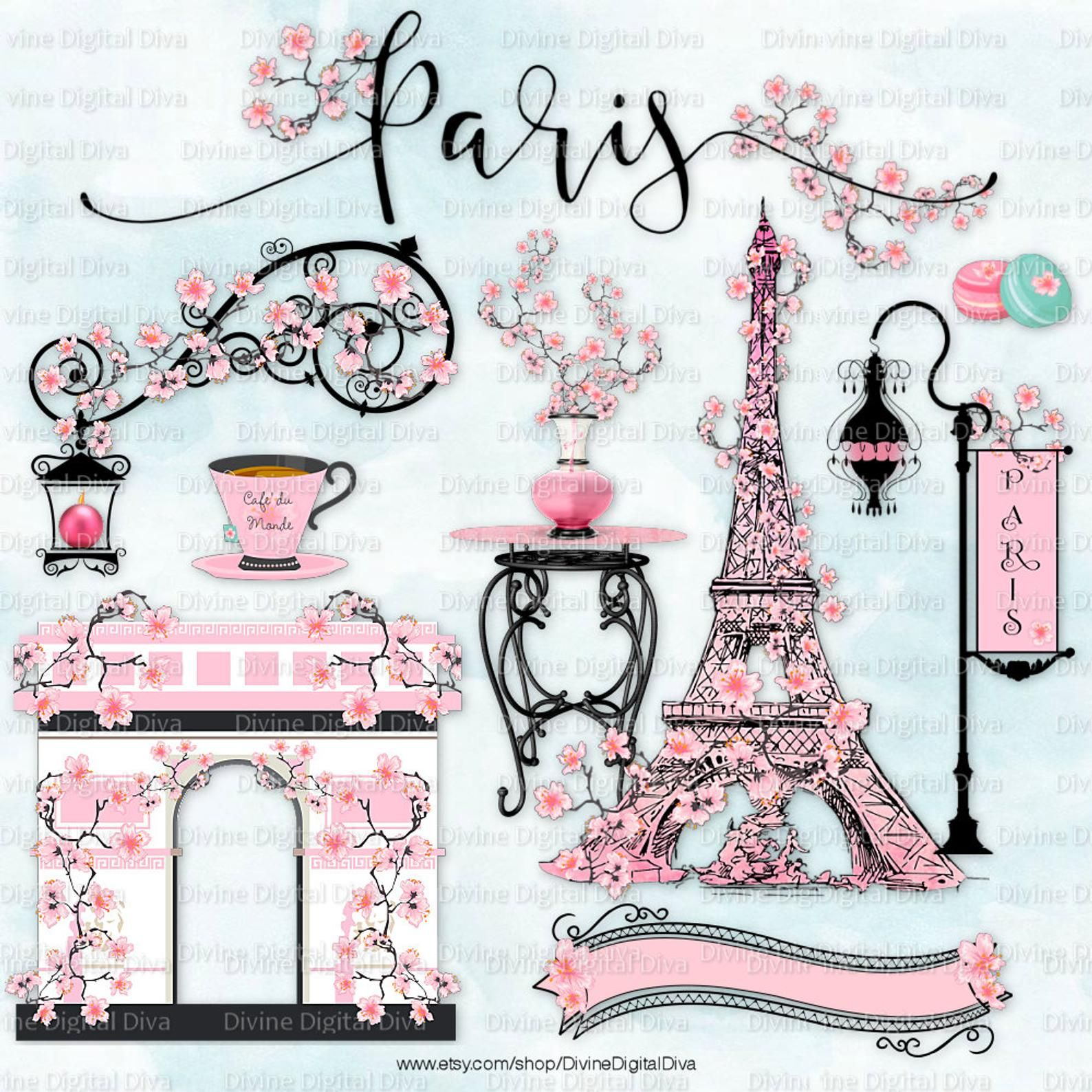 Paris in the spring cherry blossoms eiffel tower pink