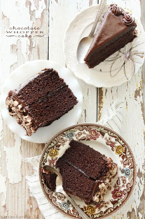 Chocolate Whopper Cake from Bakers Royale ~ Yum! A nostalgic chocolate cake with Whoppers crunch. cake chocolate dessert whoppers recipe