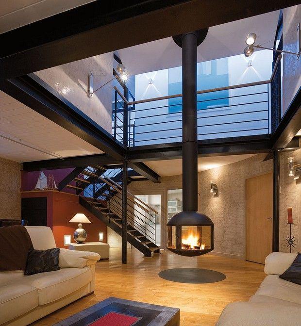 loft avec cheminee #design phare conception intérieure Pinterest - Logiciel De Plan De Maison 3d Gratuit
