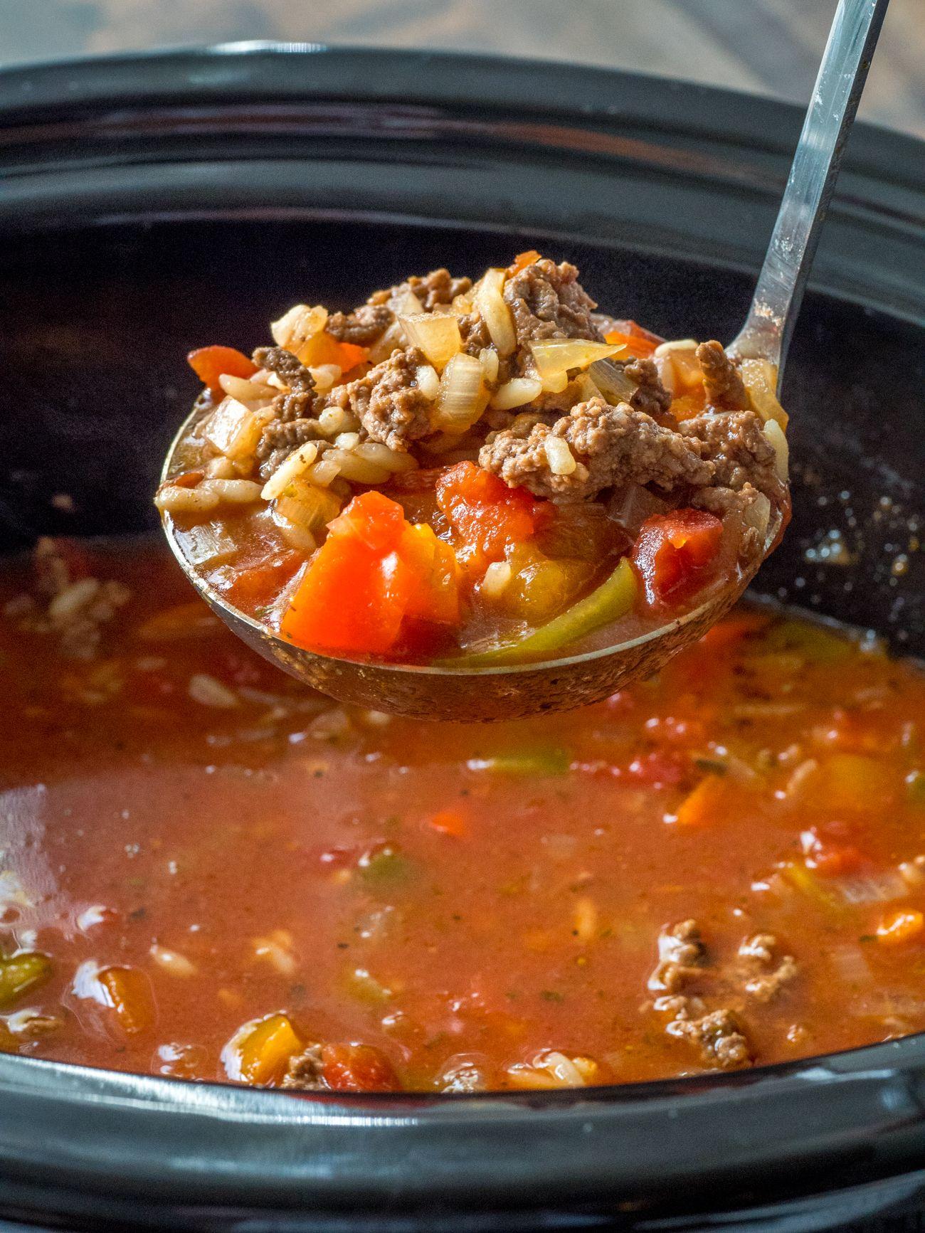 Slow Cooker Stuffed Pepper Soup Recipe Slow Cooker Stuffed Peppers Stuffed Peppers Stuffed Pepper Soup