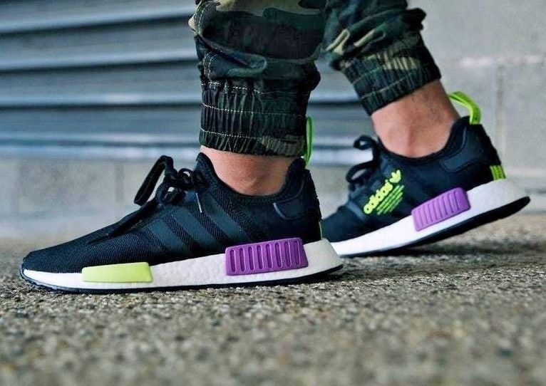 new concept c6c12 98b1e adidas NMD R1   Core Black Shock Purple Lime   Mens Trainers  D96627    adidas  RunningShoes