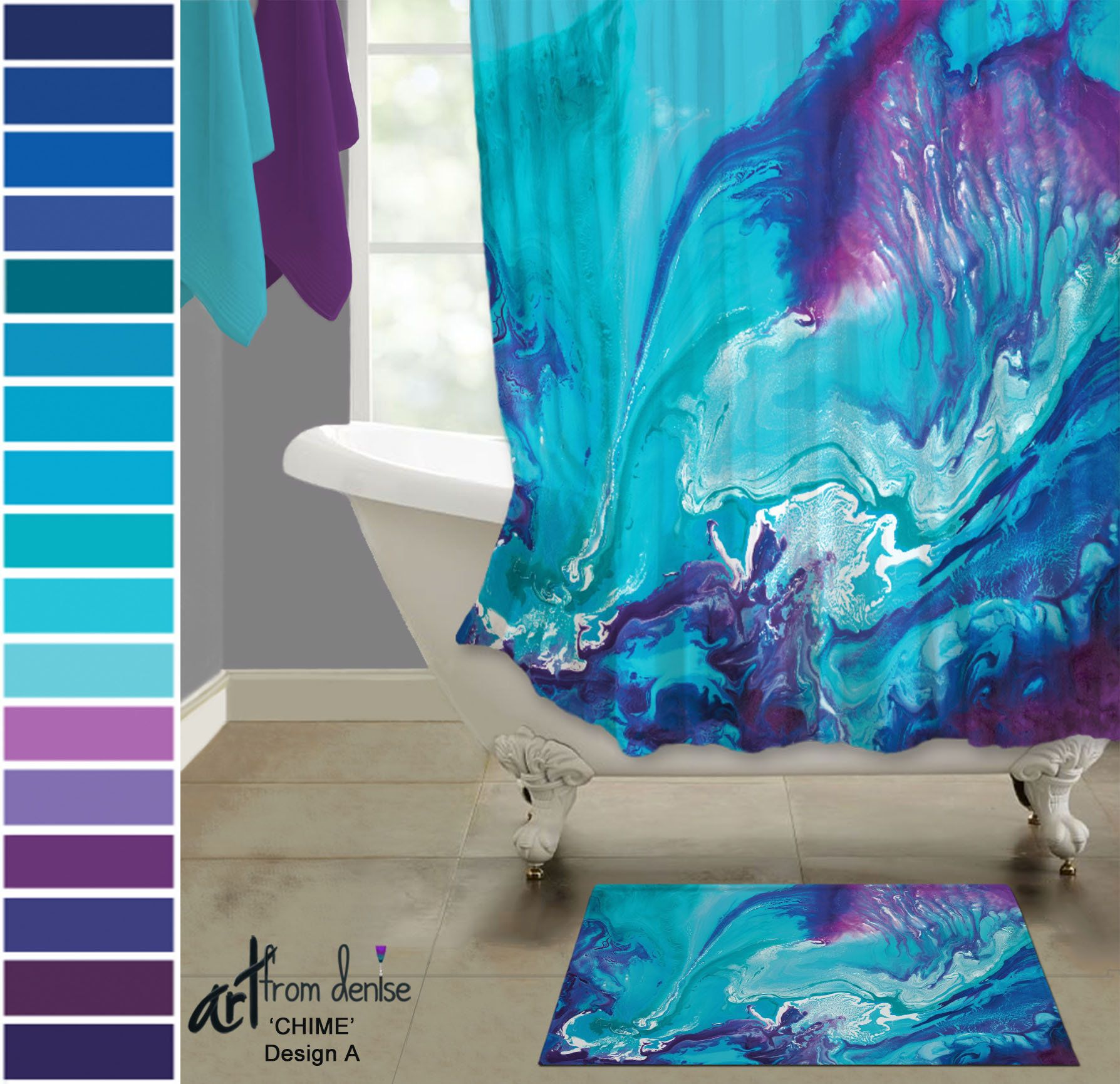 Aqua Blue And Purple Shower Curtain And Bath Rug Sets Colorful