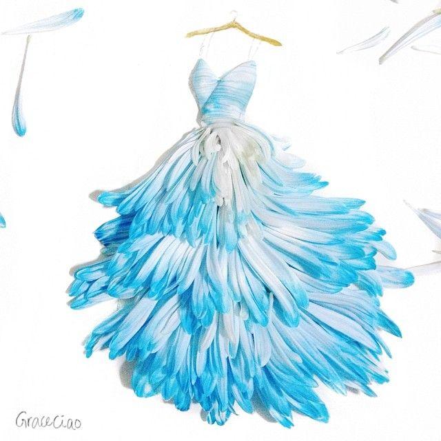 Fashion Illustrator Turns Flower Petals Into Gorgeous Dresses ...