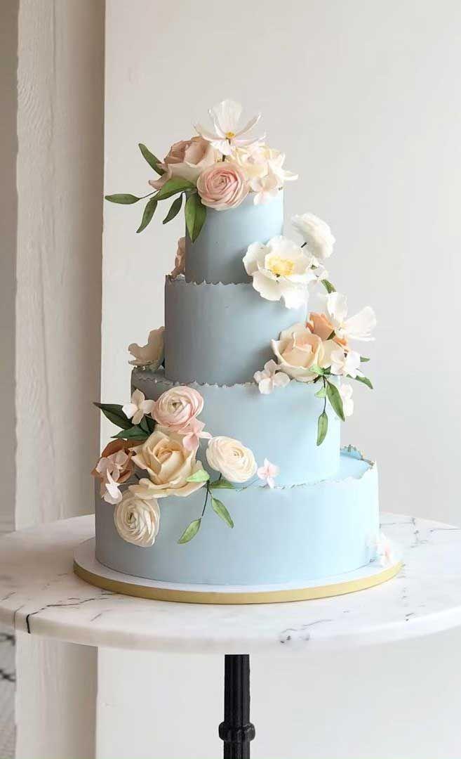 Die 50 schönsten Hochzeitstorten – Baby Blue Four Tier Hochzeitstorte   – brilliant cakes