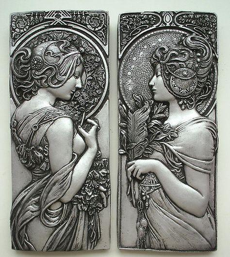 Escultura moderna decorada en forma de estatuilla o jarr/ón Milano hecho de plata cer/ámica 24,5x25,5 cm /