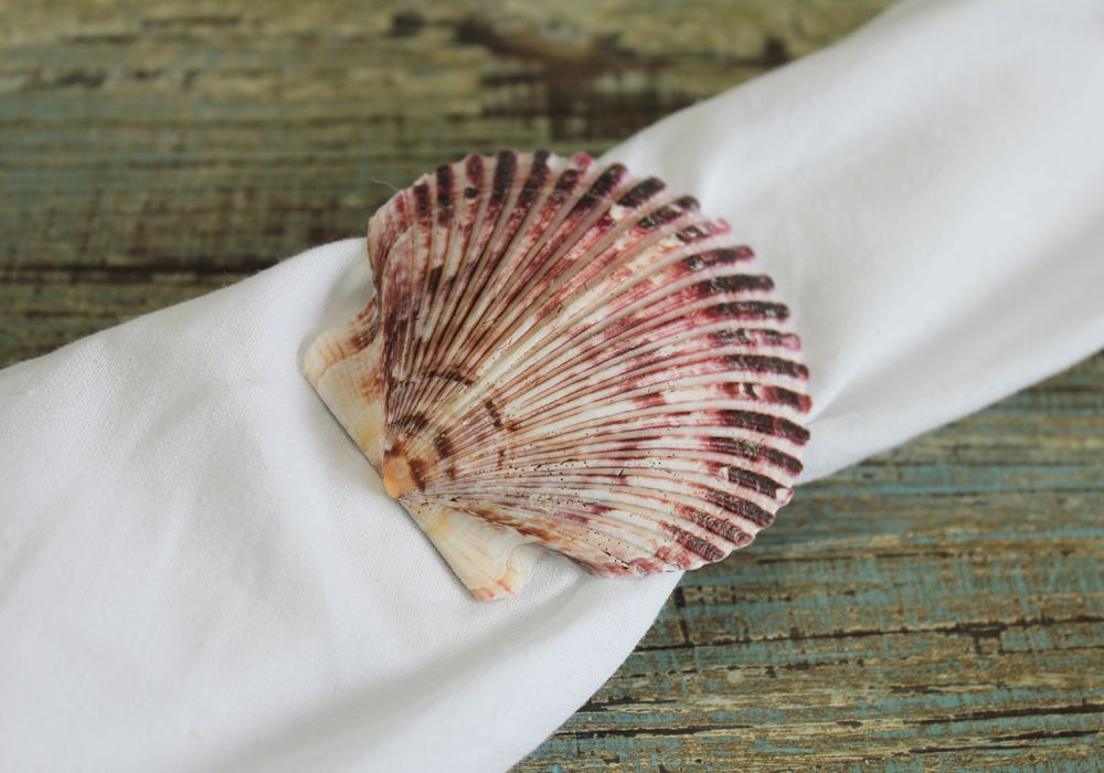 BEACH WEDDING NAPKIN RINGS... Hand-crafted by California Seashell Company, these unique purple pectin shell napkin rings are perfect accents for setting the table... beach style. Whether it be for an elegant beach-themed wedding, a dinner at your beach house or a meal with family and friends, these individually handmade napking rings are just the right accent at an affordable price.